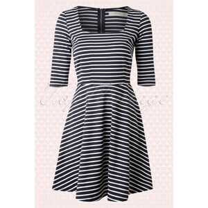 Sugarhill Boutique 50s Marcia Fit and Flare Dress in Navy and White