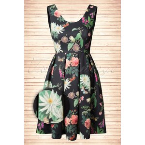 Yumi 60s Botanical Posies Dress in Black
