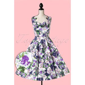 Hearts & Roses 50s Ella Floral Swing Dress in White and Purple