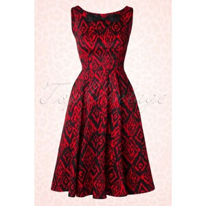 Hearts & Roses 50s Vera Swing Dress in Black and Red