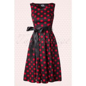 Hearts & Roses 50s Vivian Polkadot Bolero Swing Dress in Black and Red