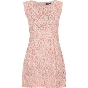 Apricot Kleid aus schimmernd unterlegter Spitze