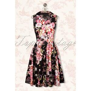 Vixen 50s Tilly Floral Swing Dress in Black