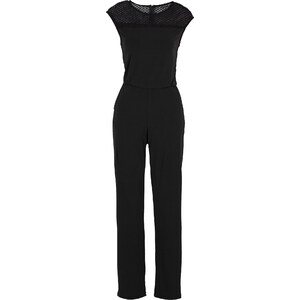 BODYFLIRT Overall mit Spitze kurzer Arm in schwarz für Damen von bonprix