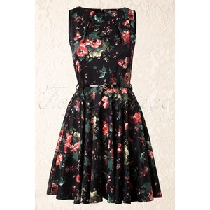 Closet 50s Floral Fit and Flare Dress in Black