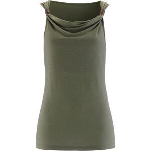 bpc selection Shirttop ohne Ärmel in grün (Wasserfall-Ausschnitt) für Damen von bonprix