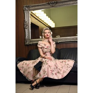 Collectif Clothing 50s Dorothy Tulle Floral Swing Dress Pink
