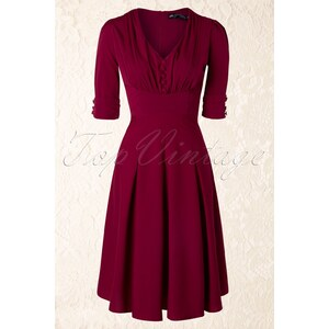 Bunny 40s June Dress in Raspberry Red