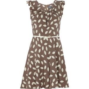 Apricot Kleid mit abstraktem Muster und Gürtel