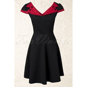 Bunny 50s Evie swing dress in black red polka dot