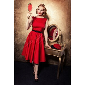 TopVintage Boutique Collection 50s Audrey Swing Dress in Red
