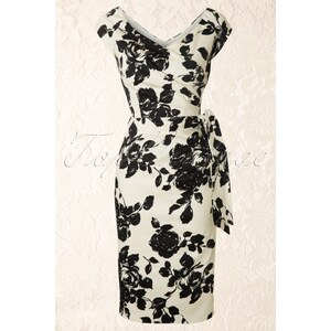 The Pretty Dress Company Hourglass Cream and Black Rose Vintage Pencil dress