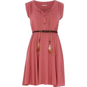 REVIEW Kleid mit geflochtenem Gürtel und Federn