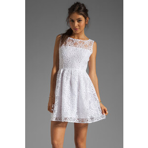 BB Dakota Huela Organza Embroidered Dress in White