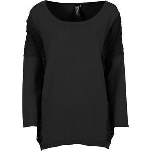 RAINBOW Pullover, oversized mit Häkeleinsatz 7/8 Arm in schwarz für Damen von bonprix