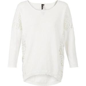 RAINBOW Pullover, oversized mit Häkeleinsatz 7/8 Arm in weiß für Damen von bonprix