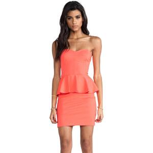 Amanda Uprichard Strapless Peplum Dress in Orange