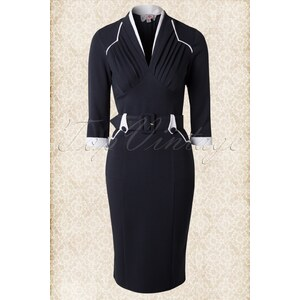 Miss Candyfloss 50s Winnifred Navy and White Pencil Dress