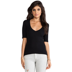 Splendid 1x1 V Neck Tee in Black
