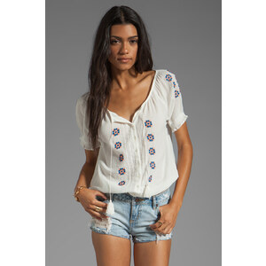 Joie Dolina Embroidery Top in White