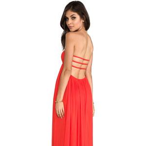 Indah Flamingo Rayon Crepe Smocked Bandeau Maxi Dress in Orange
