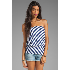"Susana Monaco Stripe Supplex Mere 11"" Tube Top in Navy"