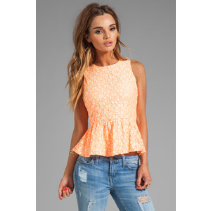 MM Couture by Miss Me Lace Peplum Tank in Orange
