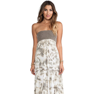 Tiare Hawaii Long Crochet Tube Dress in Taupe