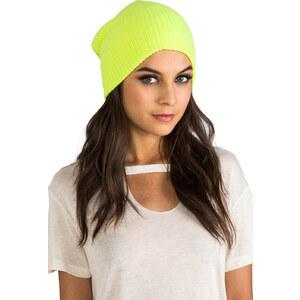 Autumn Cashmere Ribbed Bag Hat in Yellow