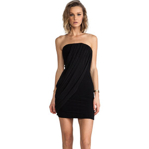 Alice + Olivia Front Drape Tube Dress in Black