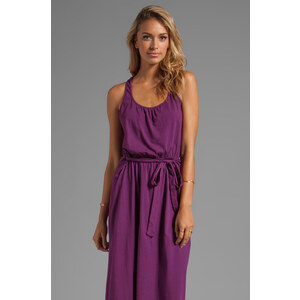 Michael Stars Jersey Knit Sleeveless Scoop Neck Racerback Hi-Lo Maxi Dress in Wine