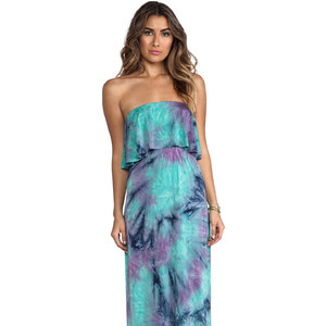 T-Bags LosAngeles Strapless Tiered Maxi in Turquoise