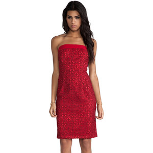 Alice by Temperley Mini Mitsu Strapless Dress in Red