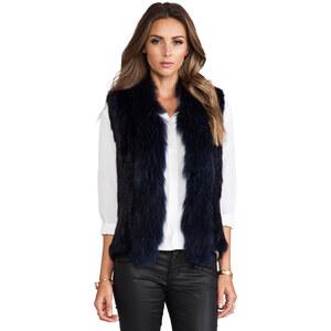 NICHOLAS Knitted Fur Trim Vest in Blue