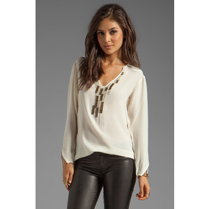 Nanette Lepore Moorish Studs and Beads Beadwork Top in Cream