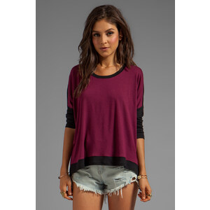 Bobi Sweater Colorblock Sweater in Wine