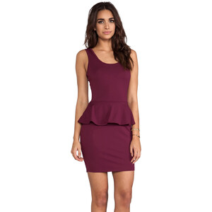 Bobi Peplum Tank Dress in Wine