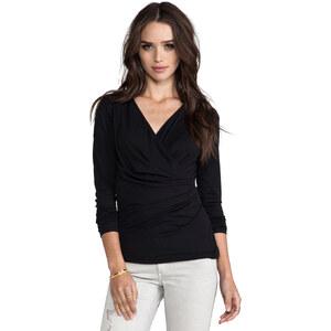 Bobi Long Sleeve Wrap Top in Black
