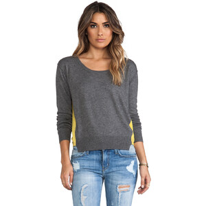 Central Park West Barrington Colorblock Sweater in Gray