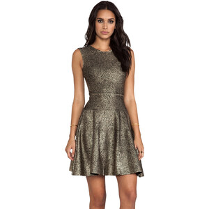 Issa Sleeveless Short Dress in Metallic Gold