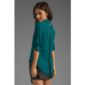 Jay Godfrey Mellon Long Sleeve Blouse with Lace Up Back in Teal