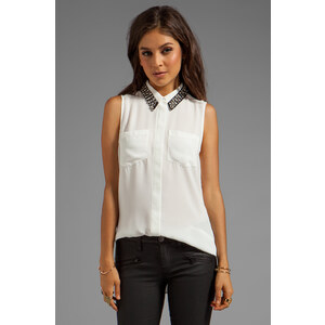 Bardot Embellished Button Down Tank in White