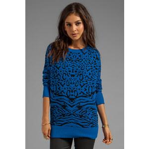 Torn by Ronny Kobo Randy Puffy Leopard Sweater in Blue