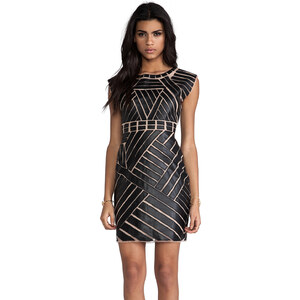 Catherine Malandrino Avalon Dress With Faux Leather Applique in Black