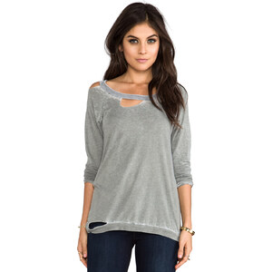 Chaser Long Sleeve Deconstructed Tee in Gray