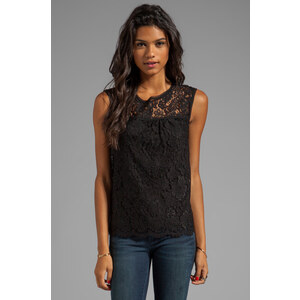 Milly Floral Scalloped Lace Shell Top in Black