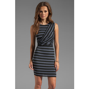 Bailey 44 Dial-Up Stripe Wrap Dress in Gray