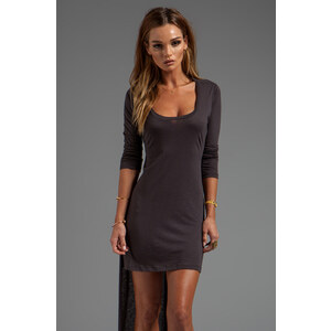 Blue Life Open Back High Low Dress in Charcoal