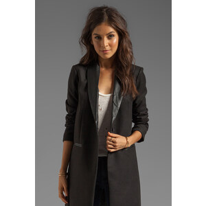 BB Dakota Blair Melton & Leather Lapel Coat in Black