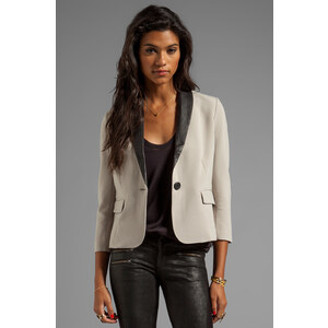 BB Dakota Gerry Blazer w. Leather Lapel in Taupe